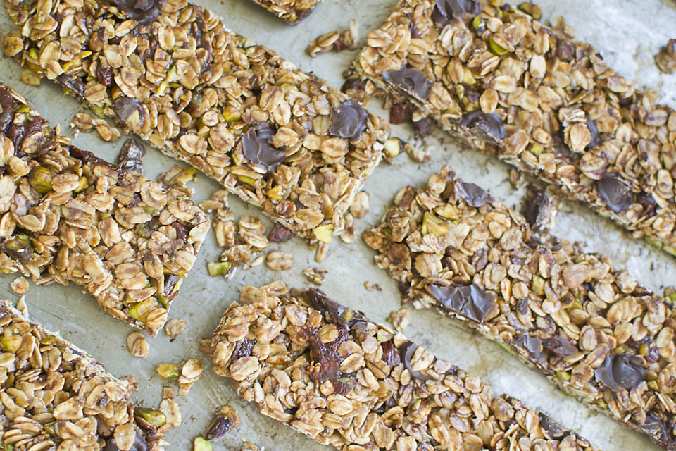 Homemade goji berry and chocolate granola bars from This Is Nuts.